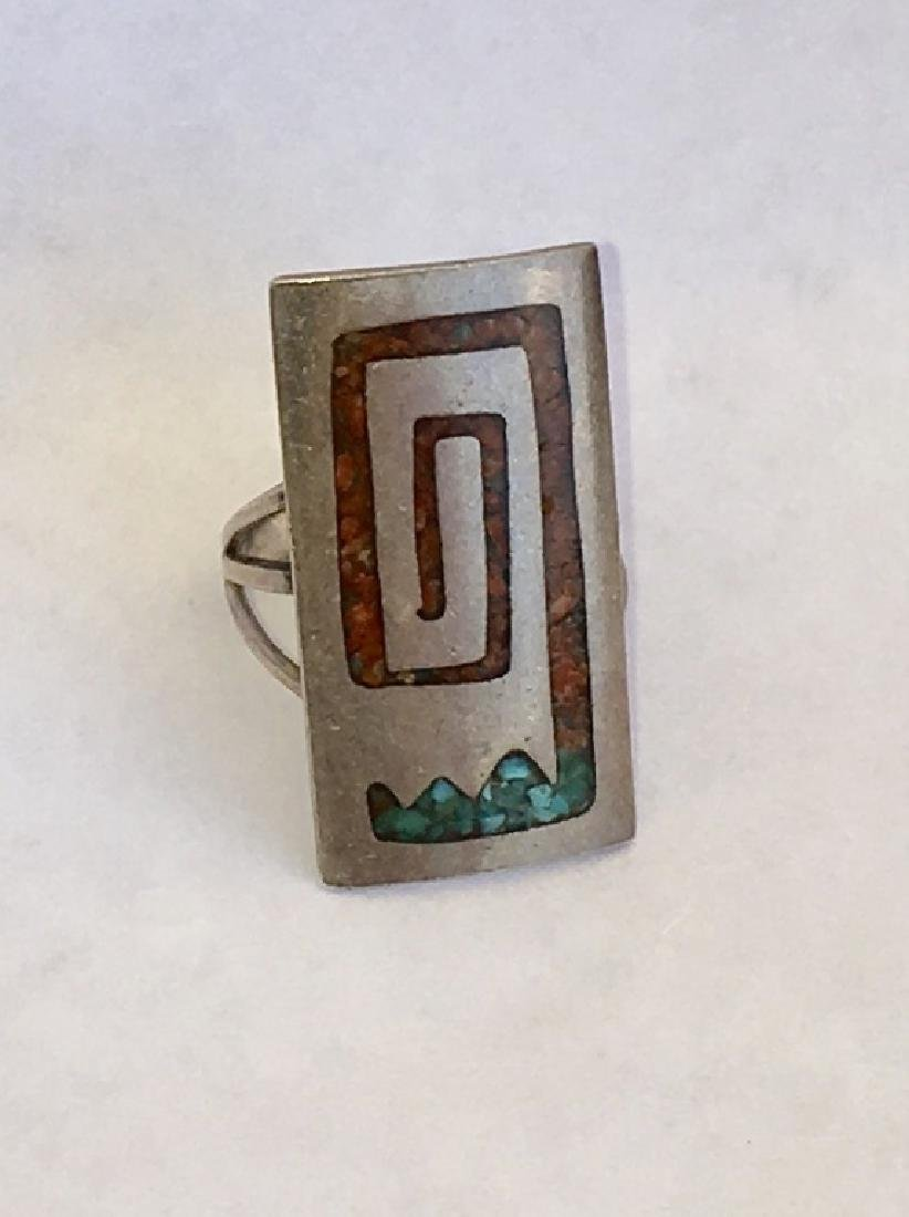 NAVAJO CORAL & TURQUOISE INLAID STERLING SILVER - 5