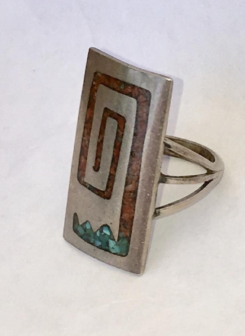 NAVAJO CORAL & TURQUOISE INLAID STERLING SILVER - 7