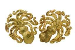18K GOLD LARGE OCTOPUS EARRINGS