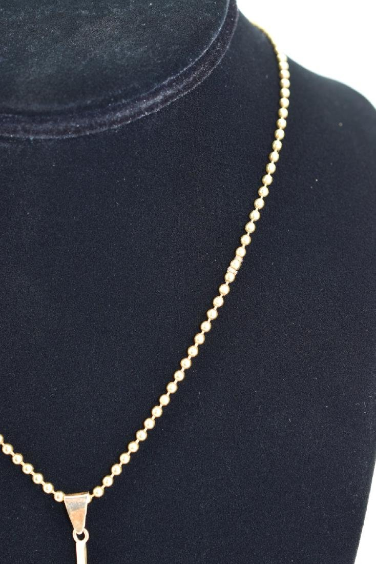 18K GOLD BEAD NECKLACE & PEARL PENDANT - 10