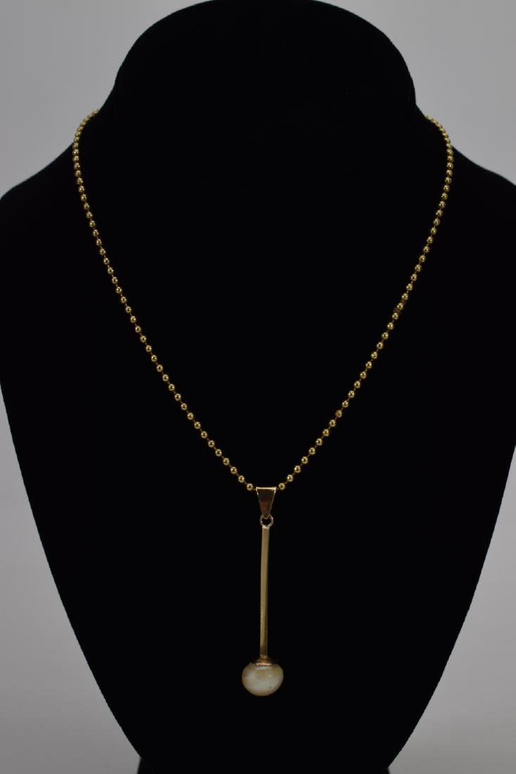 18K GOLD BEAD NECKLACE & PEARL PENDANT - 2