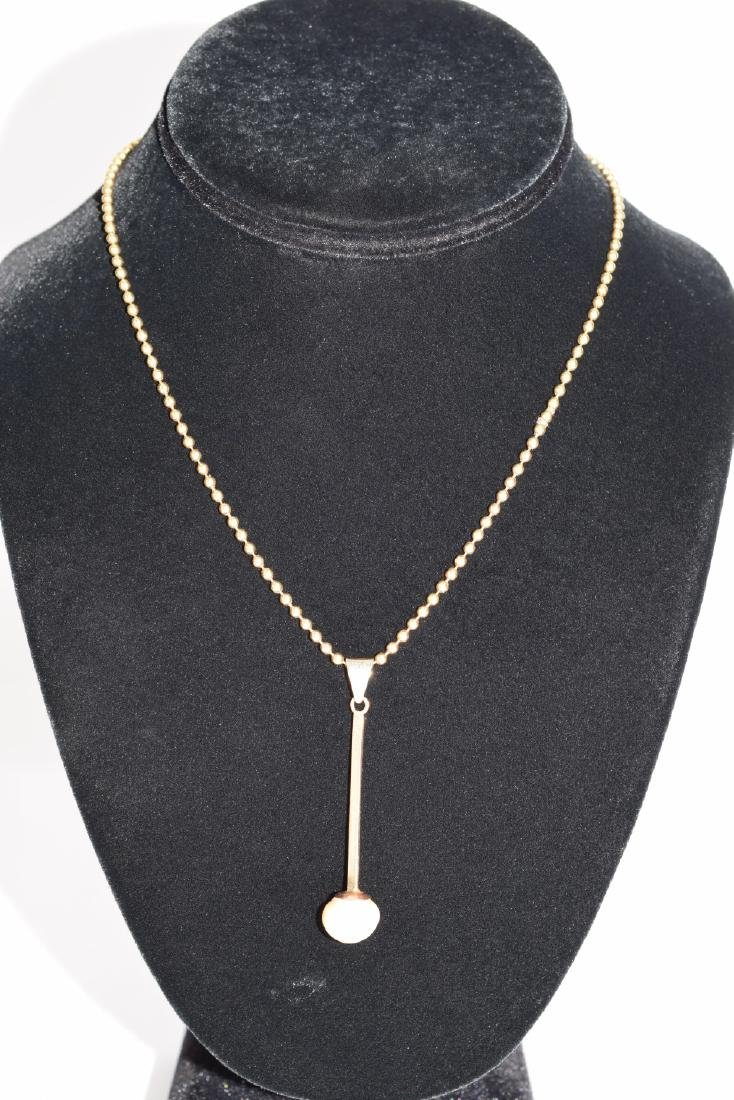 18K GOLD BEAD NECKLACE & PEARL PENDANT - 3