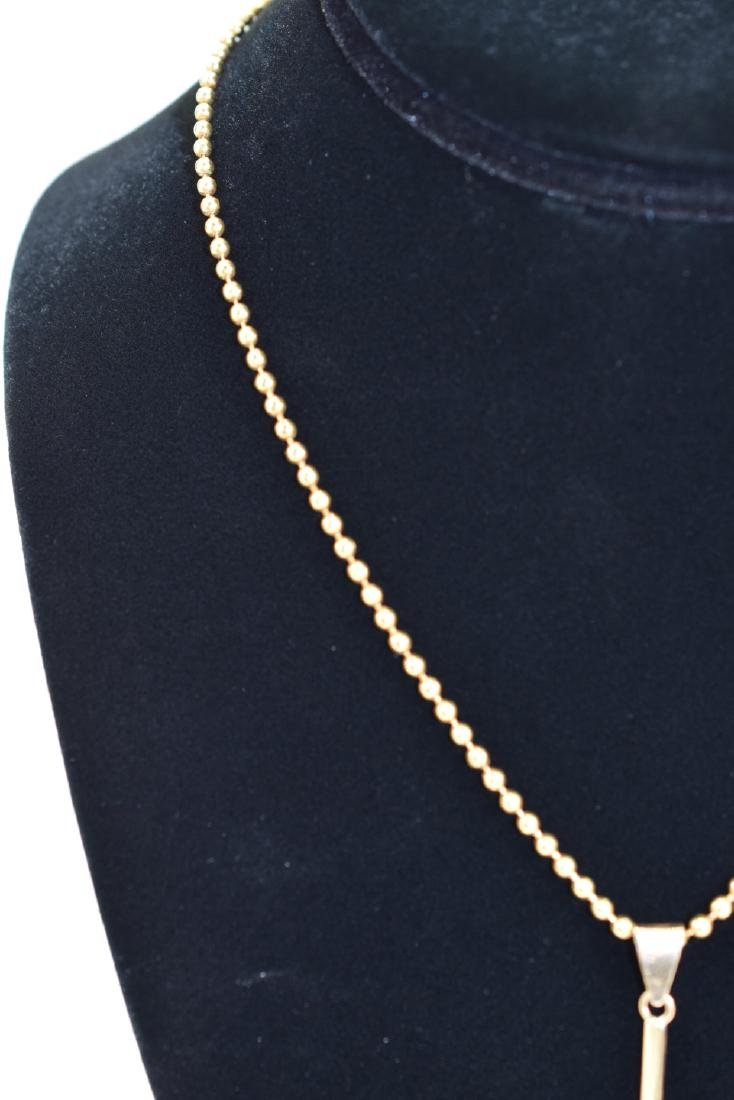 18K GOLD BEAD NECKLACE & PEARL PENDANT - 9