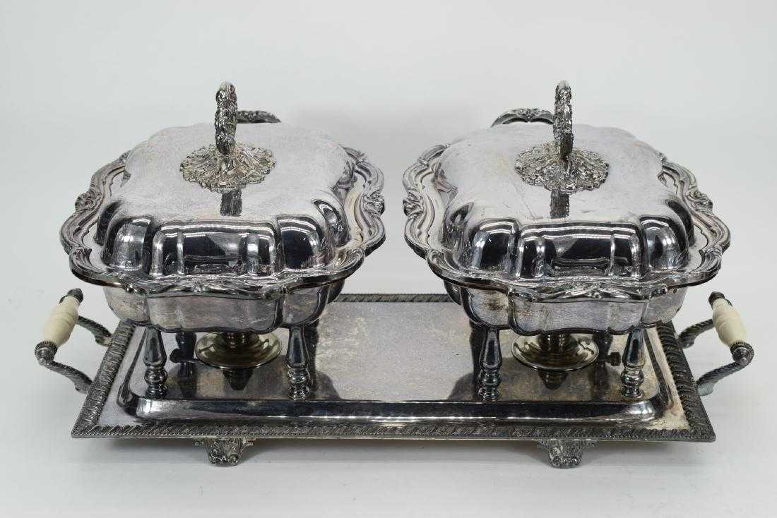SILVER PLATED HANDLED BUFFET SERVERS & TRAYS