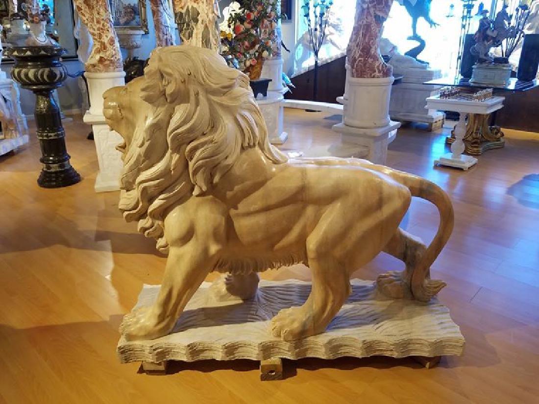 HUGE PAIR WALKING LIONS CARVED ITALIAN MARBLE SCULPTURE