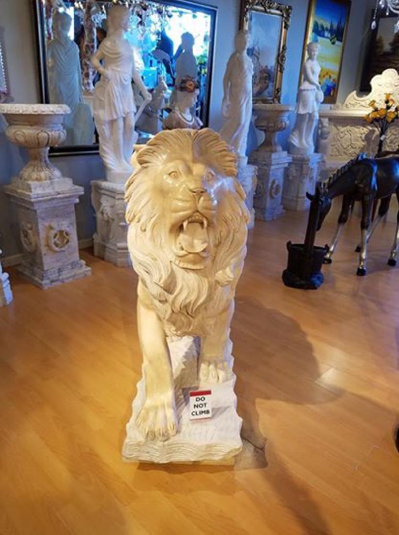 HUGE PAIR WALKING LIONS CARVED ITALIAN MARBLE SCULPTURE - 4
