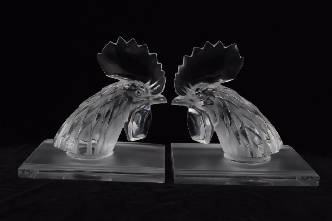 "PAIR LALIQUE ""TETE DE COQ"" ROOSTERS ON BASES"