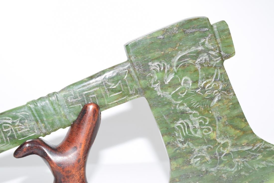 ANTIQUE HAND CARVED JADE NEPHRITE AXE - 8