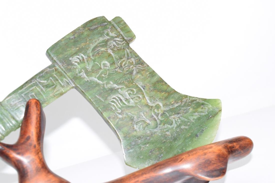 ANTIQUE HAND CARVED JADE NEPHRITE AXE - 9