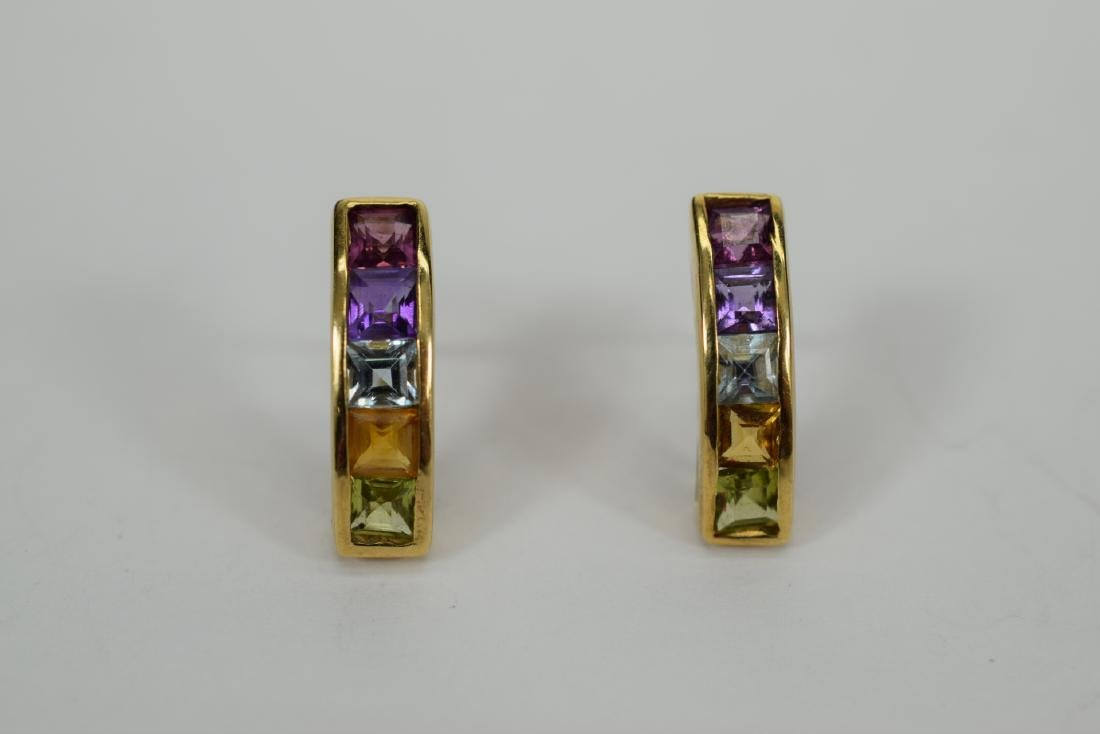14K GOLD MULTI-COLOR SEMI-PRECIOUS EARRINGS