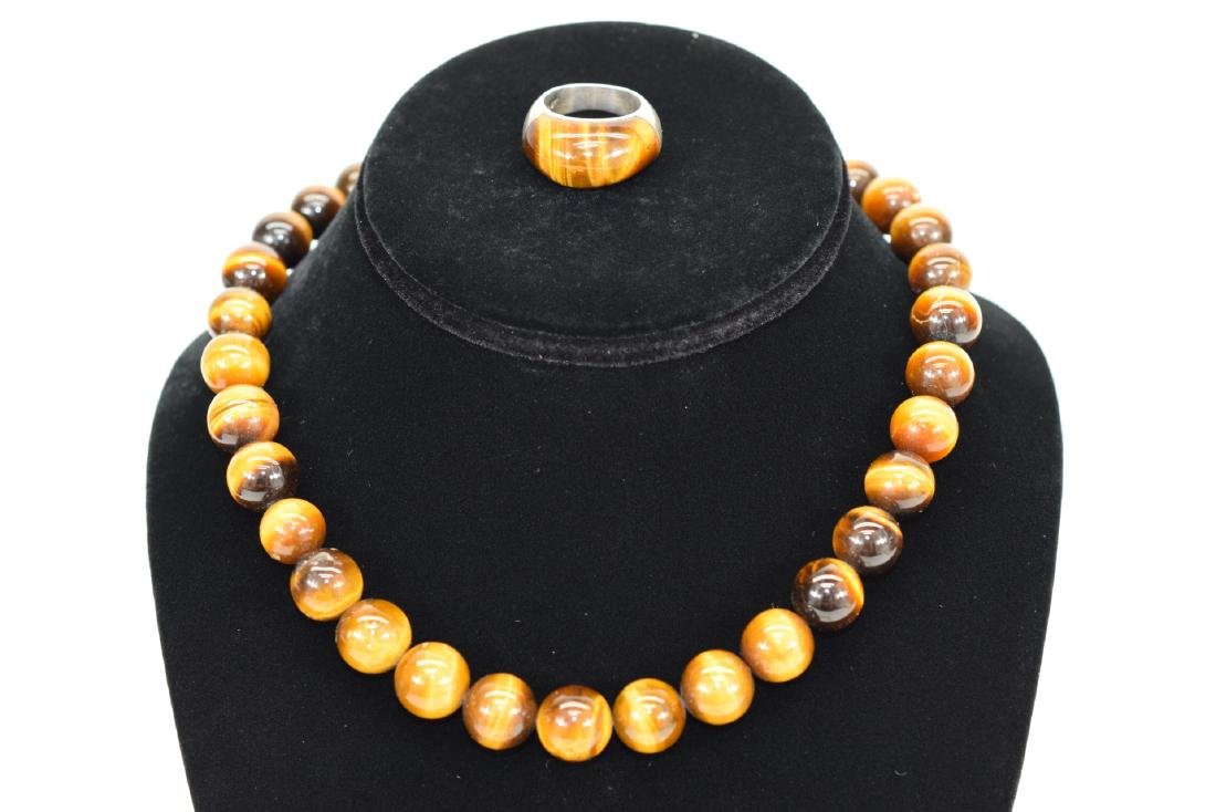 TIGERS EYE NECKLACE AND STERLING SILVER RING