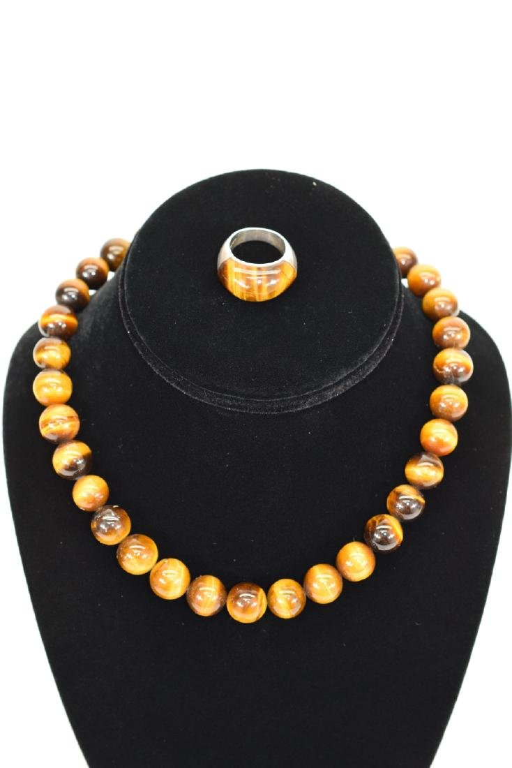 TIGERS EYE NECKLACE AND STERLING SILVER RING - 2