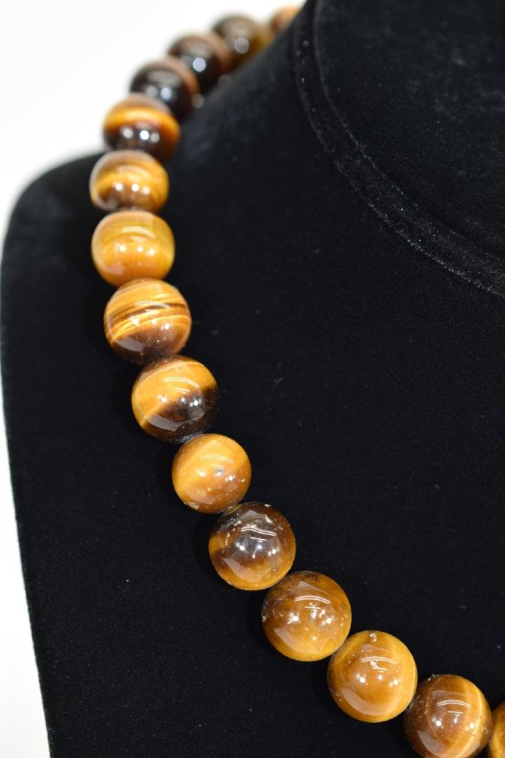 TIGERS EYE NECKLACE AND STERLING SILVER RING - 4