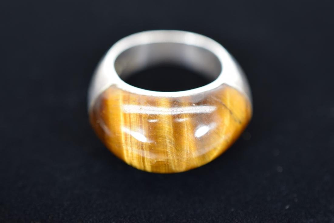 TIGERS EYE NECKLACE AND STERLING SILVER RING - 5