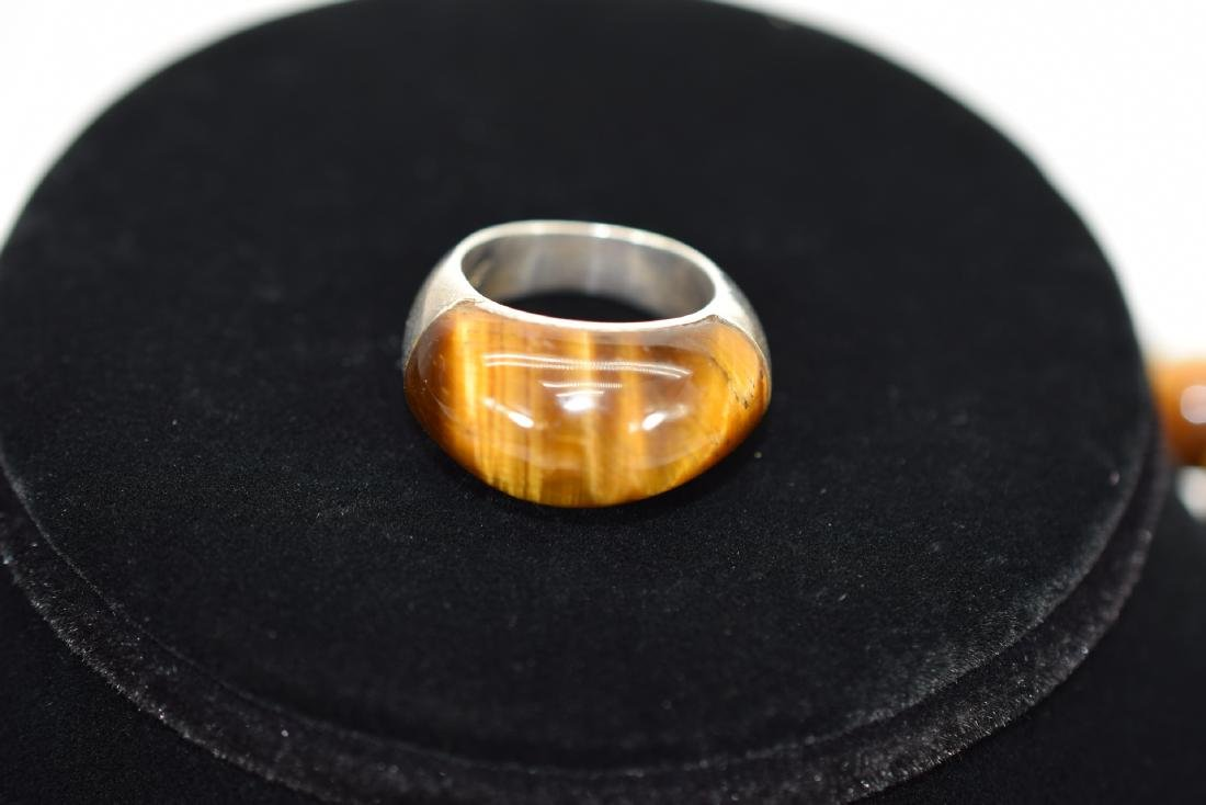 TIGERS EYE NECKLACE AND STERLING SILVER RING - 6
