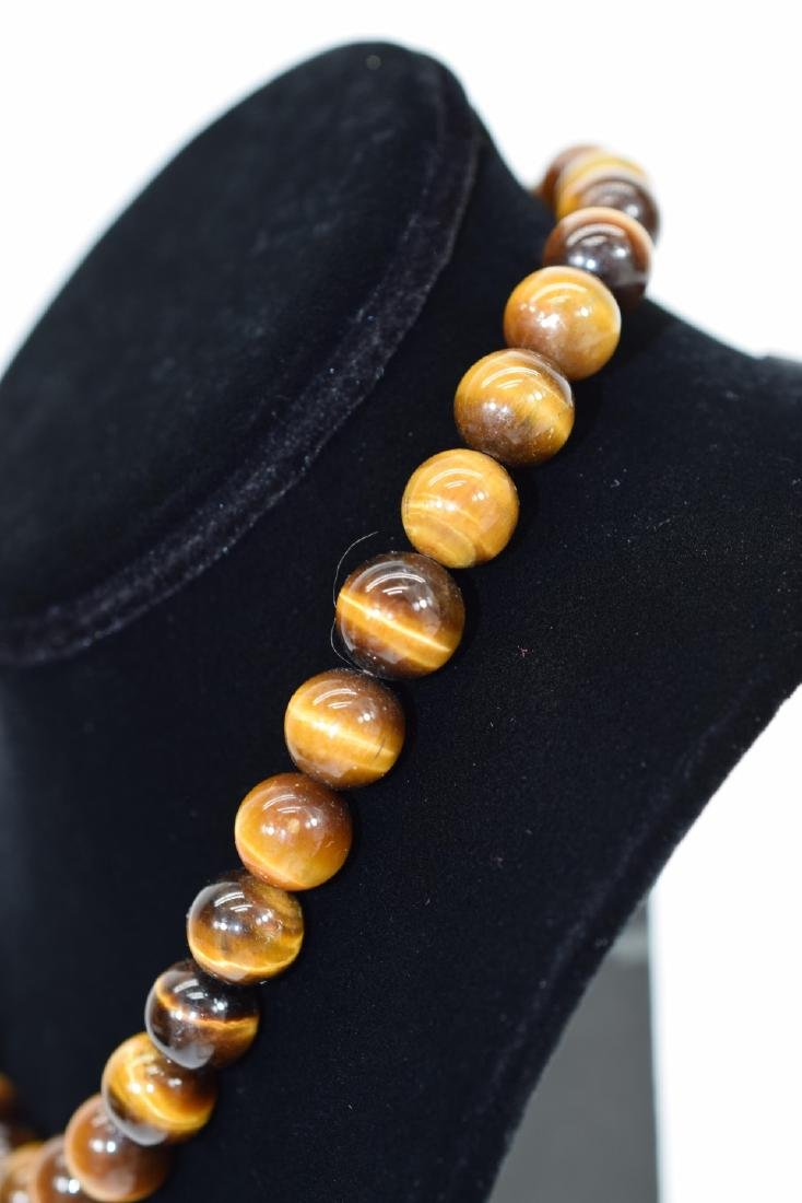 TIGERS EYE NECKLACE AND STERLING SILVER RING - 9
