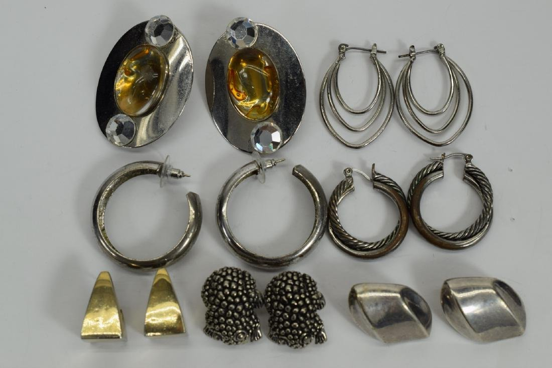 7 PAIRS COSTUME SILVER HOOPS ++  -EARRINGS LOT 3