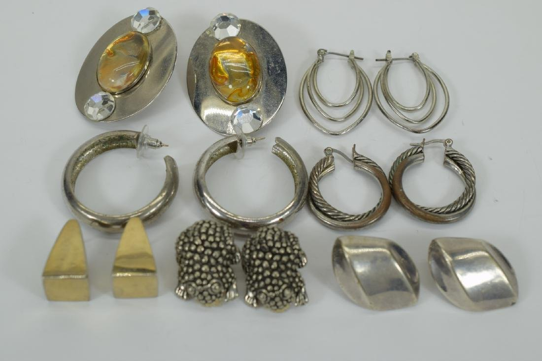 7 PAIRS COSTUME SILVER HOOPS ++  -EARRINGS LOT 3 - 2
