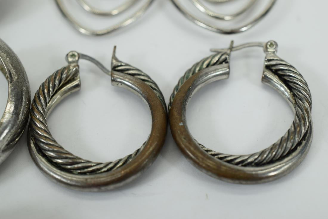 7 PAIRS COSTUME SILVER HOOPS ++  -EARRINGS LOT 3 - 6