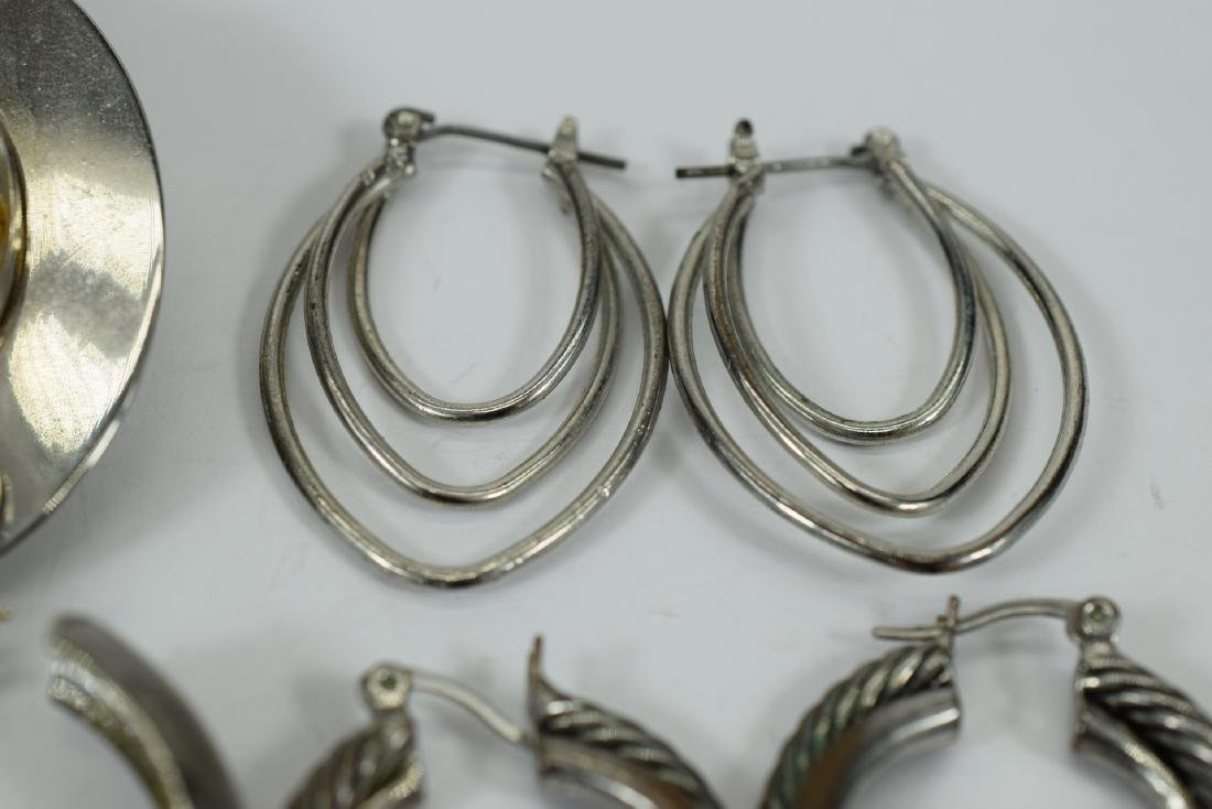 7 PAIRS COSTUME SILVER HOOPS ++  -EARRINGS LOT 3 - 9