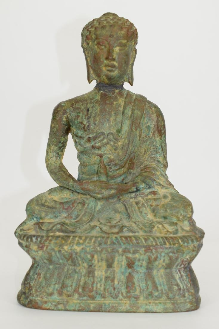 ANTIQUE BRONZE SEATED BUDDHA SCULPTURE