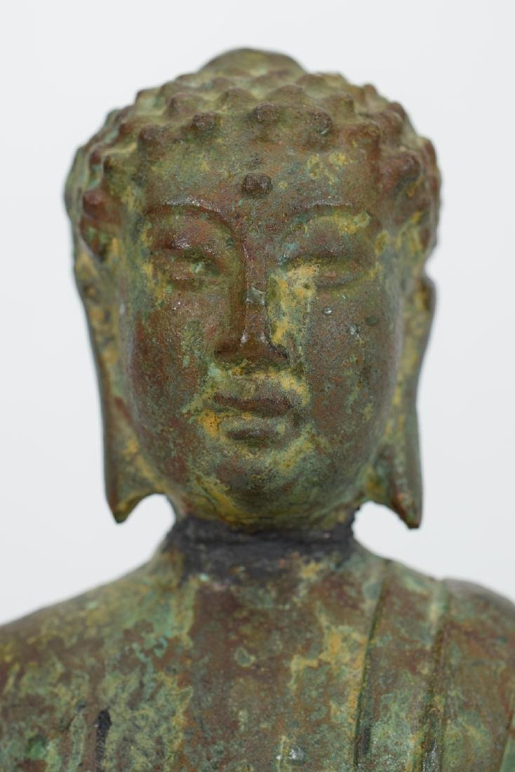 ANTIQUE BRONZE SEATED BUDDHA SCULPTURE - 2