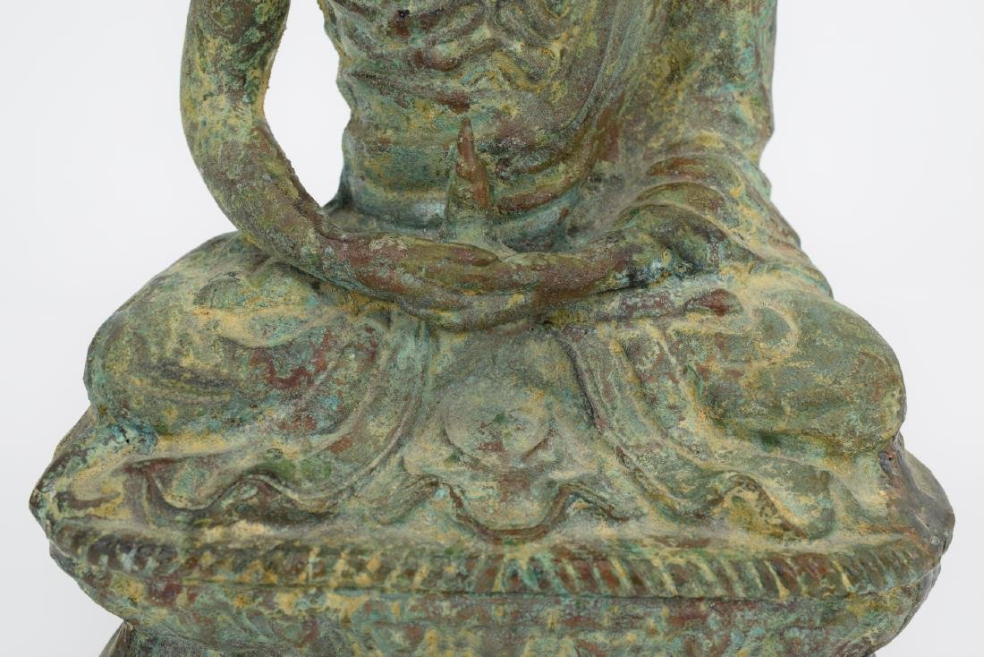 ANTIQUE BRONZE SEATED BUDDHA SCULPTURE - 4