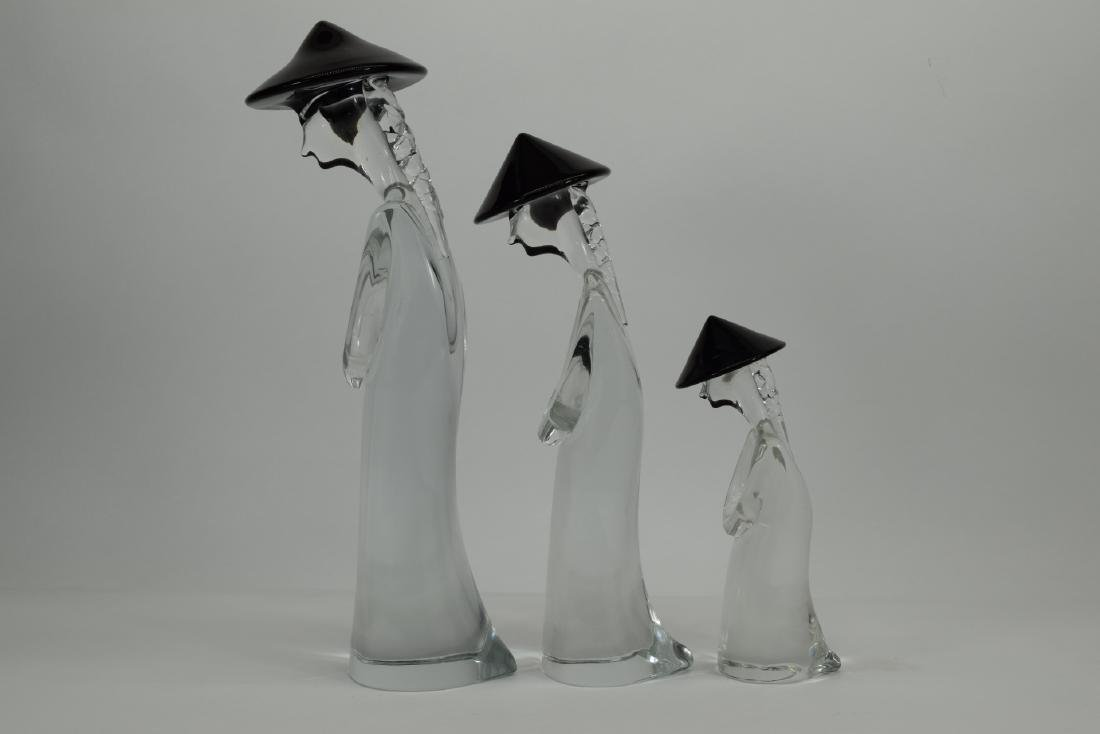 3 PC MURANO ART GLASS ASIAN FAMILY FIGURINES