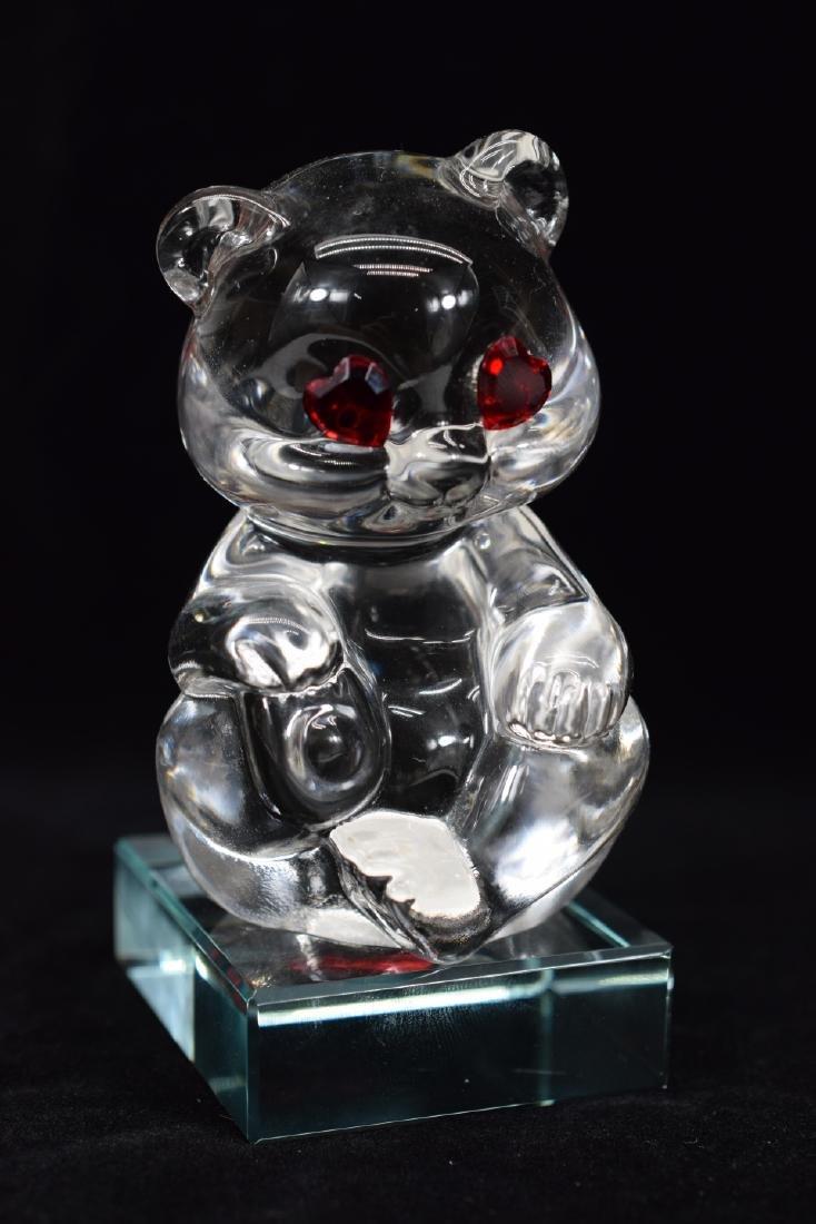 FENTON TEDDY BEAR PAPERWEIGHT & HEART PLAQUE