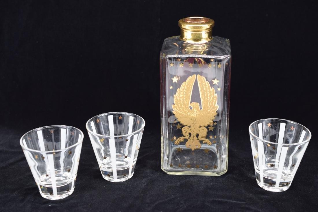 GAY FAD GOLD EAGLE STAR DECANTER & 3 GLASS SET - 2