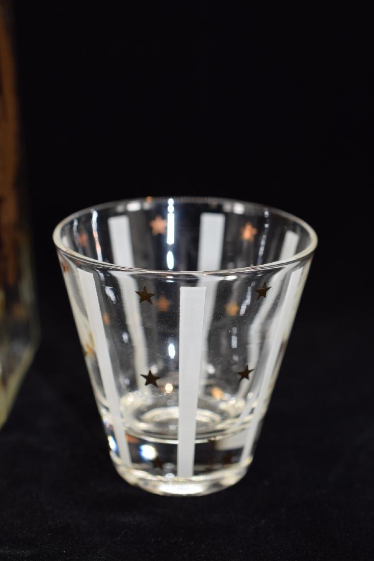 GAY FAD GOLD EAGLE STAR DECANTER & 3 GLASS SET - 6