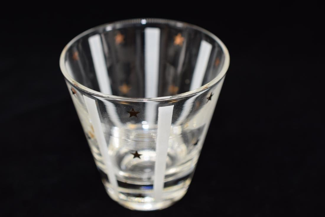 GAY FAD GOLD EAGLE STAR DECANTER & 3 GLASS SET - 7