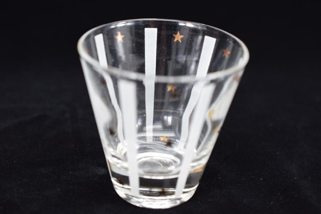 GAY FAD GOLD EAGLE STAR DECANTER & 3 GLASS SET - 8