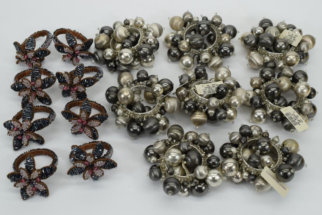 16 KIM SEYBERT SILVER & FLOWER NAPKIN RINGS