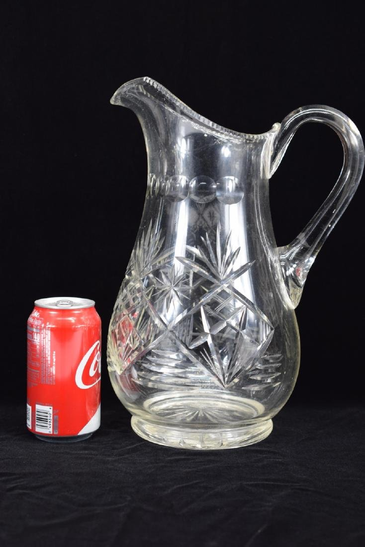 LARGE CUT CRYSTAL ART GLASS WATER PITCHER