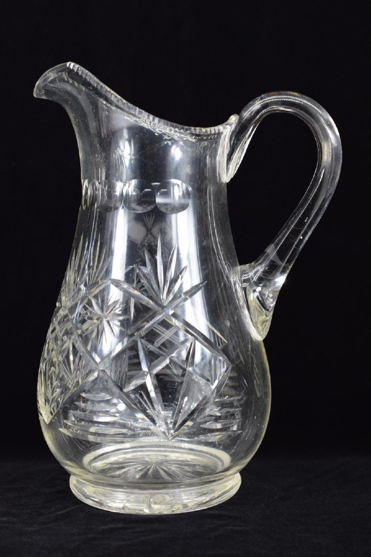 LARGE CUT CRYSTAL ART GLASS WATER PITCHER - 2