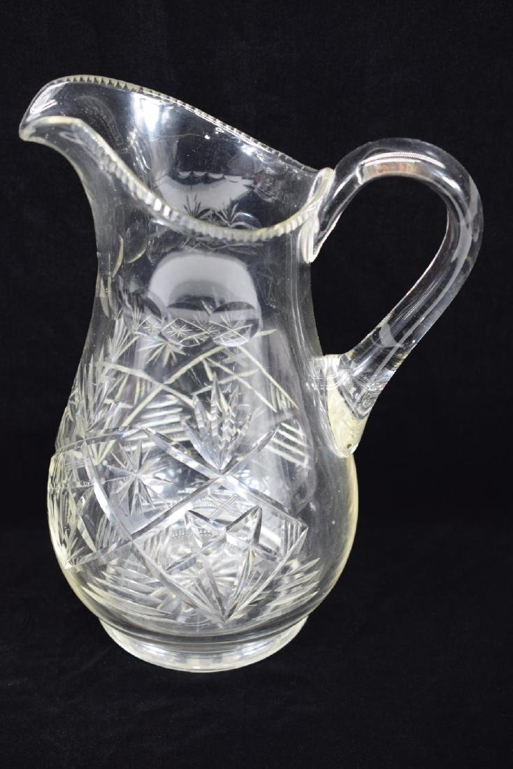 LARGE CUT CRYSTAL ART GLASS WATER PITCHER - 3
