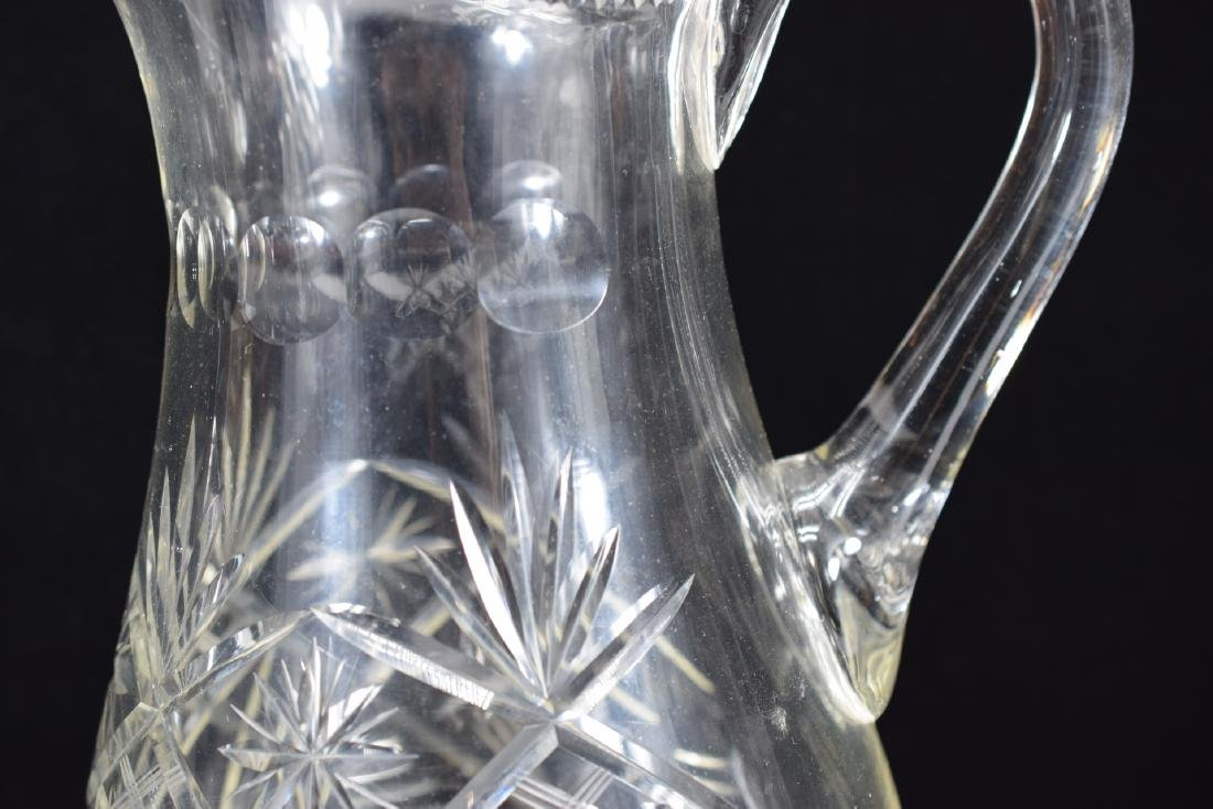 LARGE CUT CRYSTAL ART GLASS WATER PITCHER - 6