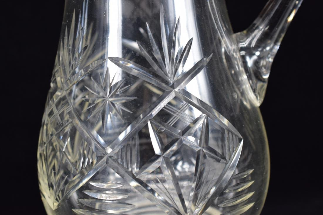 LARGE CUT CRYSTAL ART GLASS WATER PITCHER - 7