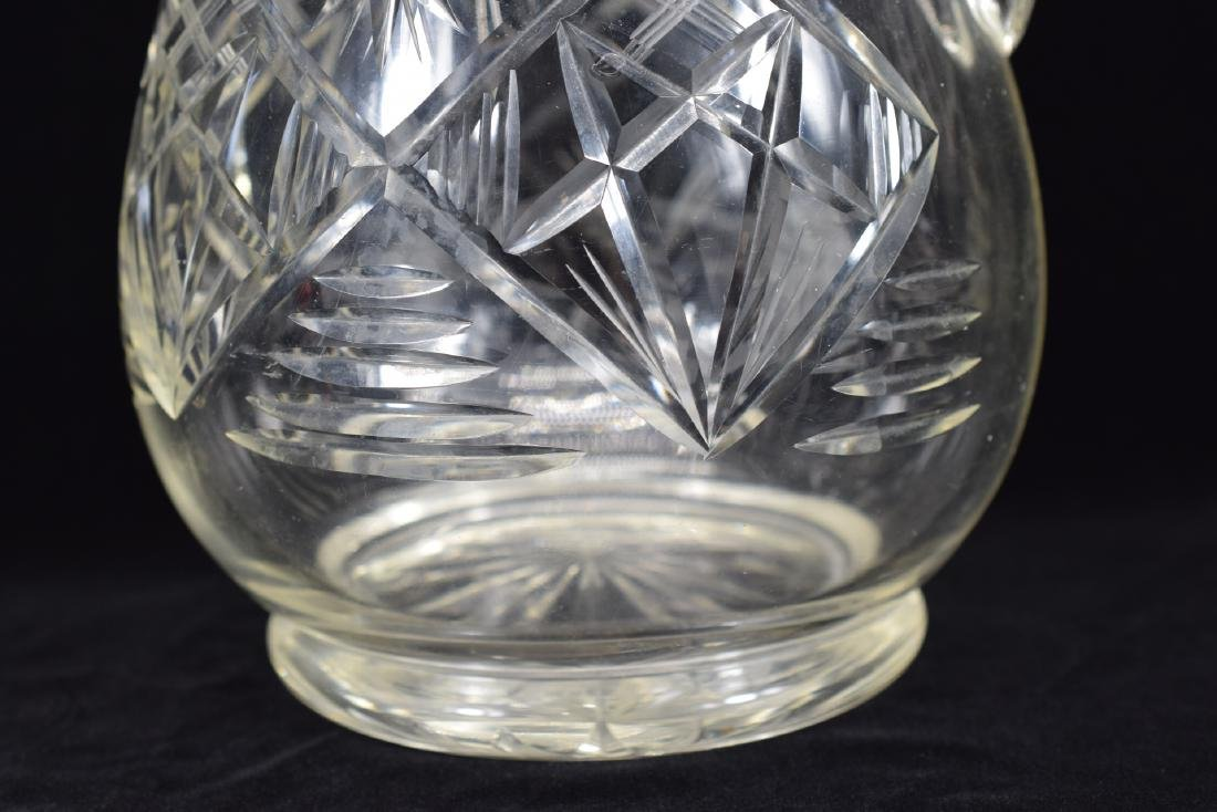 LARGE CUT CRYSTAL ART GLASS WATER PITCHER - 8