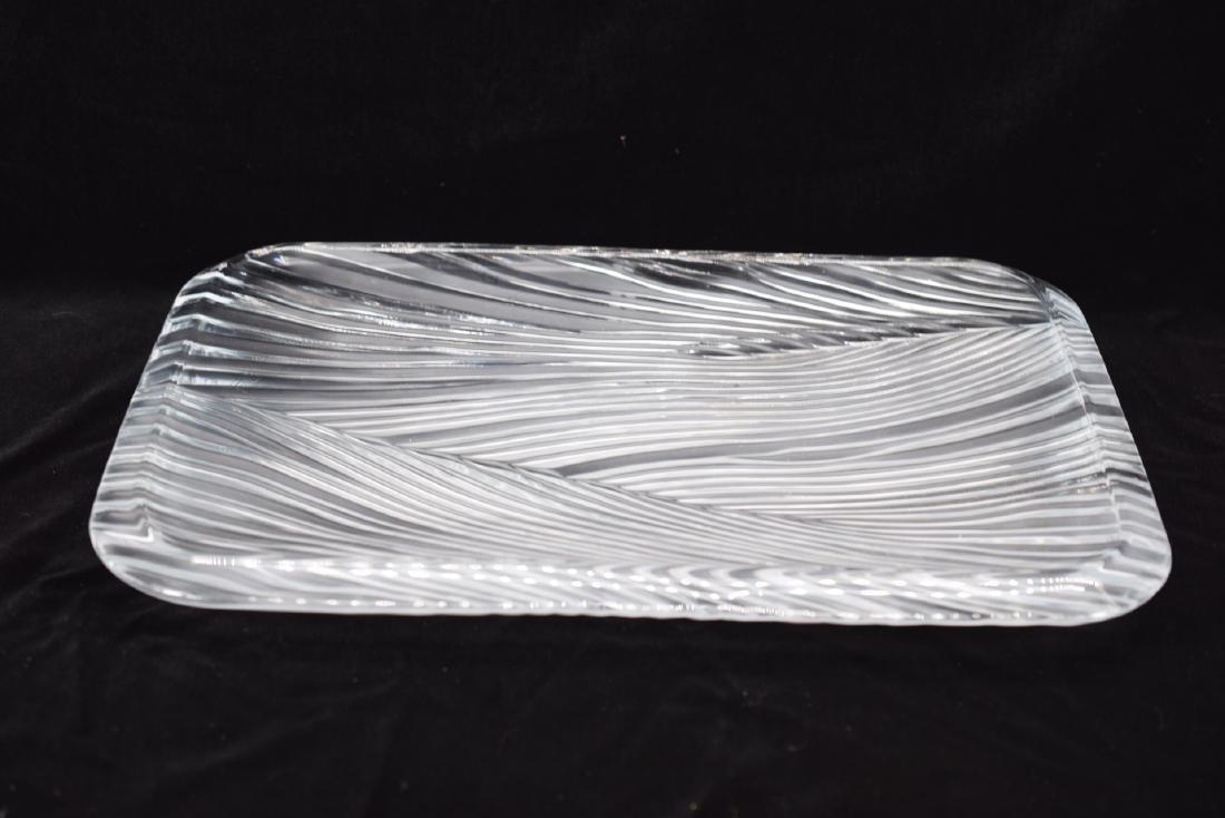 ART GLASS CRYSTAL ETCHED LEAF SERVING PLATTER - 3