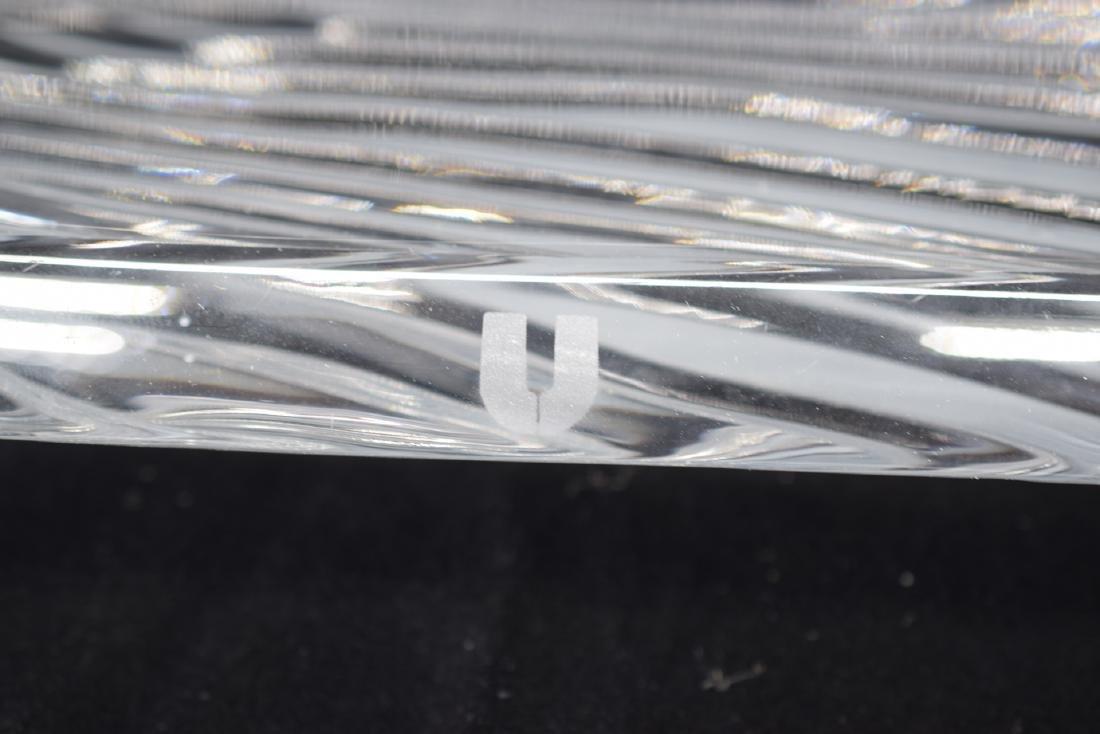 ART GLASS CRYSTAL ETCHED LEAF SERVING PLATTER - 8