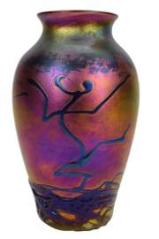 ZELLIQUE STUDIO ART GLASS VASE BY JOSEPH MOREL