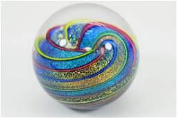 GES IRIDESCENT SWIRL ART GLASS PAPERWEIGHT