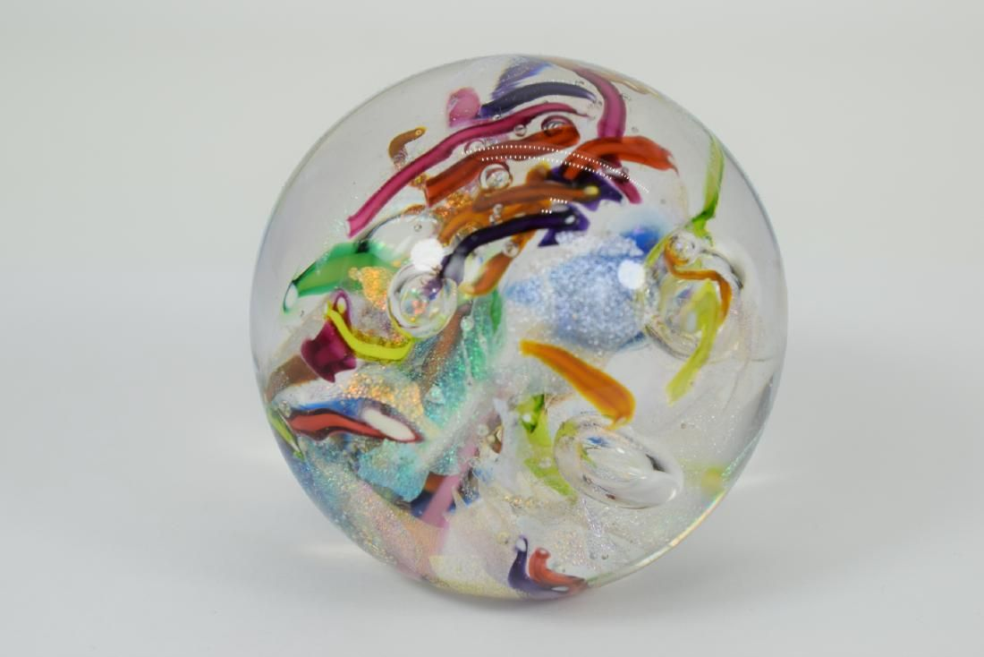 GES IRIDESCENT COLORFUL ART GLASS PAPERWEIGHT