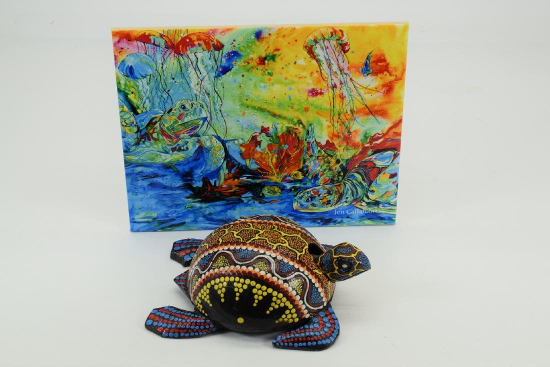 HAND PAINTED SEA TURTLE ART TILE & WOOD FIGURE - 8