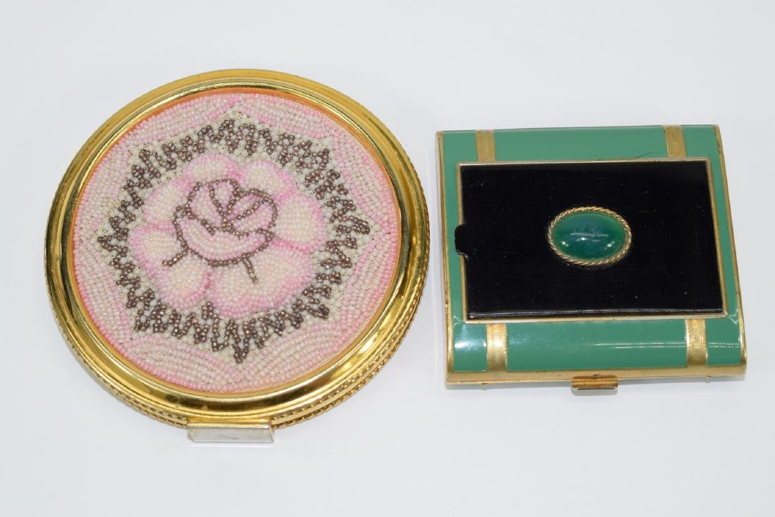 VINTAGE PINK FLORAL BEADED LARGE COMPACT +