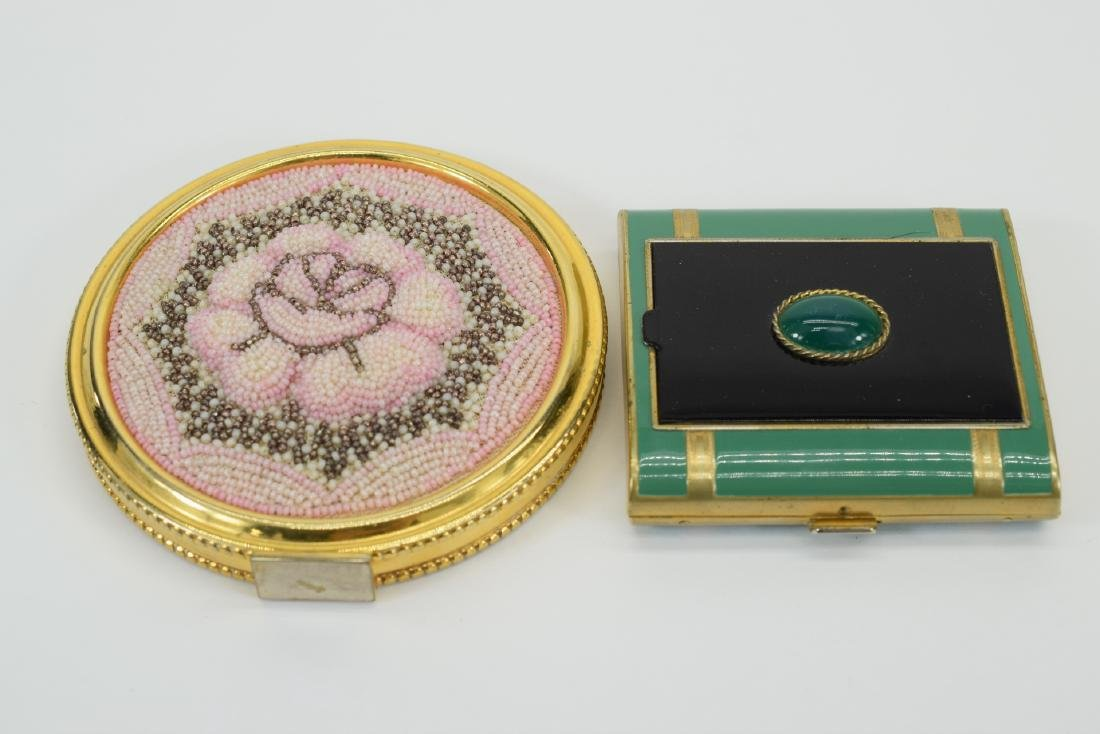 VINTAGE PINK FLORAL BEADED LARGE COMPACT + - 2