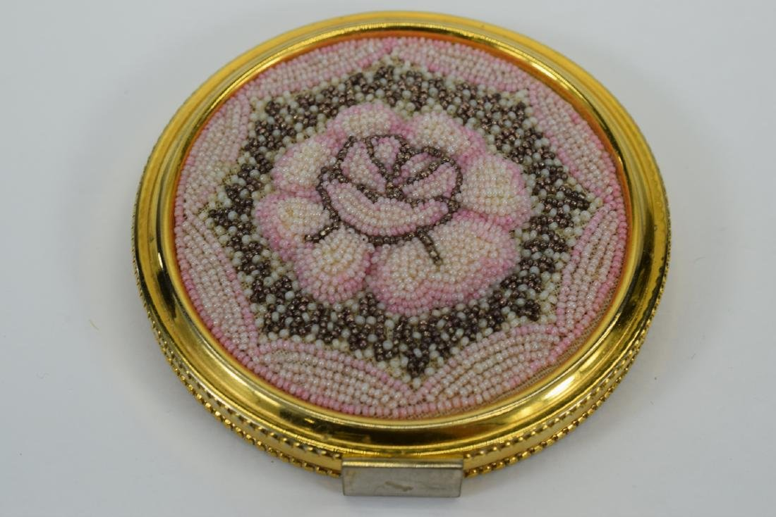 VINTAGE PINK FLORAL BEADED LARGE COMPACT + - 5