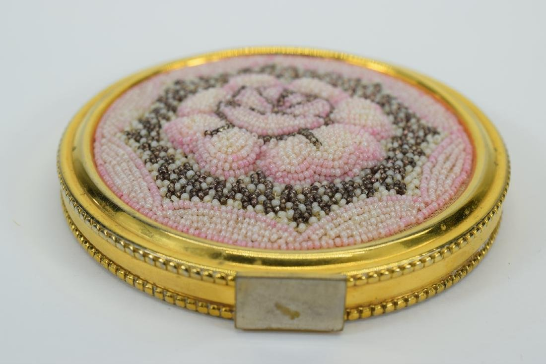 VINTAGE PINK FLORAL BEADED LARGE COMPACT + - 6